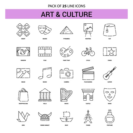 Art and Culture Line Icon Set - 25 Dashed Outline Style Vettoriali