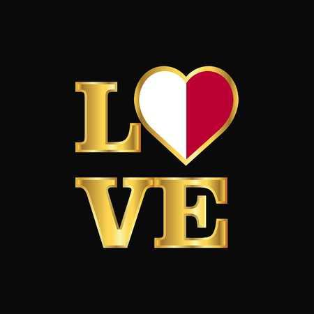 Love typography Malta flag design vector Gold lettering Vektoros illusztráció