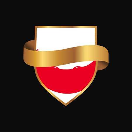 Ecuador flag Golden badge design vector
