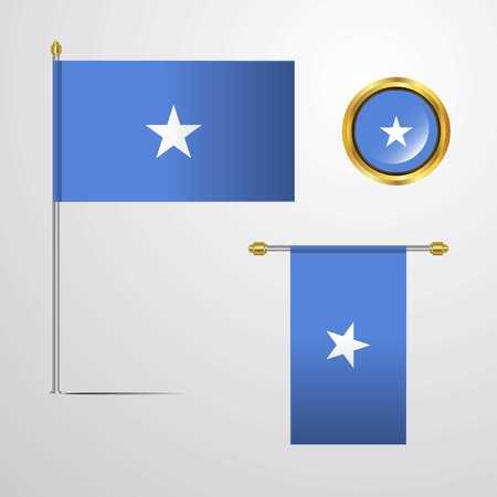 Somalia waving Flag design with badge vector Çizim