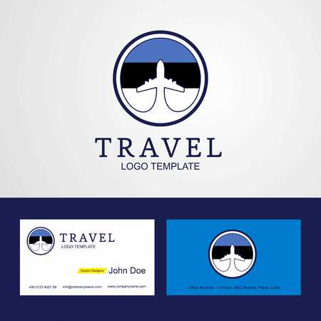 Travel Estonia Creative Circle flag Logo and Business card design