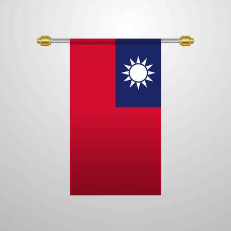 Taiwan hanging Flag Illustration