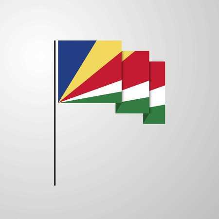 Seychelles waving Flag creative background
