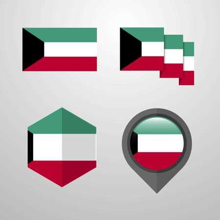 Conception du drapeau du Koweït vecteur défini