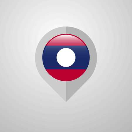 Map Navigation pointer with Laos flag design vector