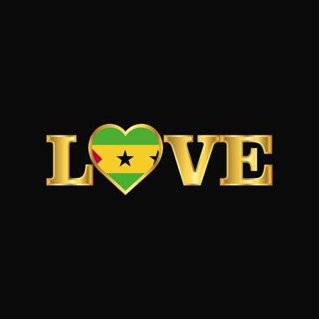 Golden Love typography Sao Tome and Principe flag design vector Ilustração