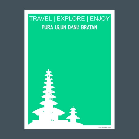 Pura Ulun bratan Bali island, Indonesia monument landmark brochure Flat style and typography vector Illustration