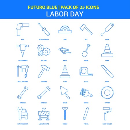 Labor day Icons - Futuro Blue 25 Icon pack
