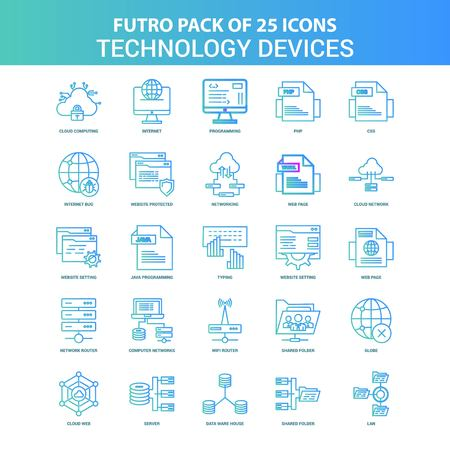 25 Green and Blue Futuro Technology Device Icon Pack