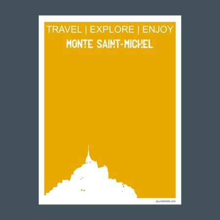 Monte Saint- michel, France monument landmark brochure Flat style and typography vector Ilustrace