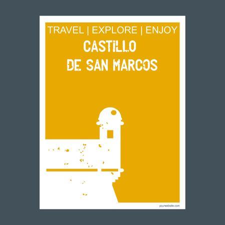 Castillo De San Marcos St Augustine, USA monument landmark brochure Flat style and typography vector Ilustração