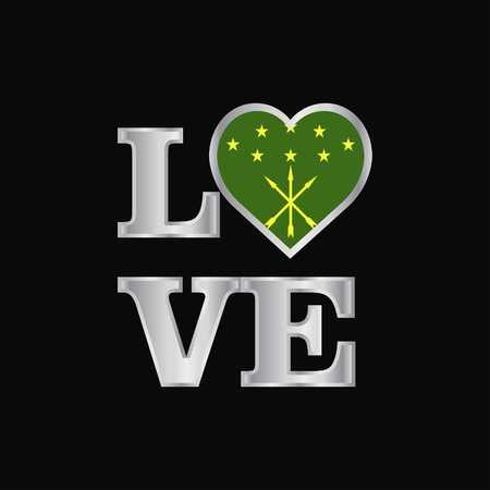 Love typography Adygea flag design vector beautiful lettering Ilustrace