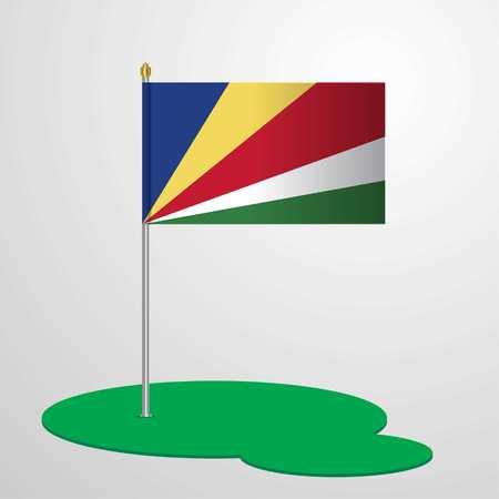 Seychelles Flag Pole Stock Illustratie