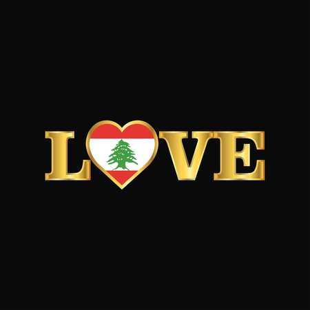 Golden Love typography Lebanon flag design vector