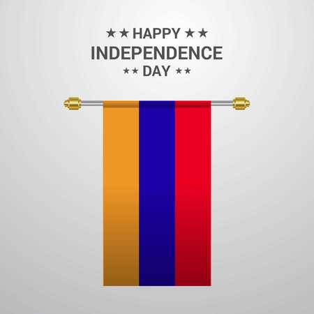 Armenia Independence day hanging flag background Stock Vector - 111960391