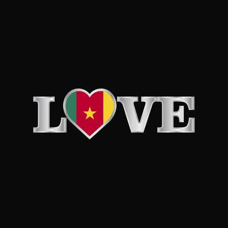 Love typography with Cameroon flag design vector