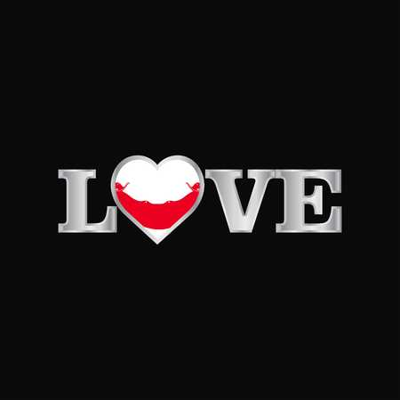 Love typography with Ecuador flag design vector