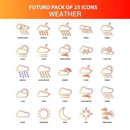 Orange Futuro 25 Weather Icon Set Vektoros illusztráció