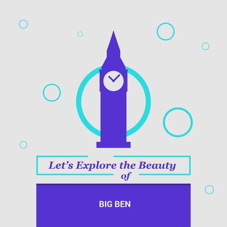 Let's Explore the beauty of Big ben London, UK National Landmarks  イラスト・ベクター素材