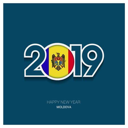 2019 Moldova Typography, Happy New Year Background Vektorové ilustrace