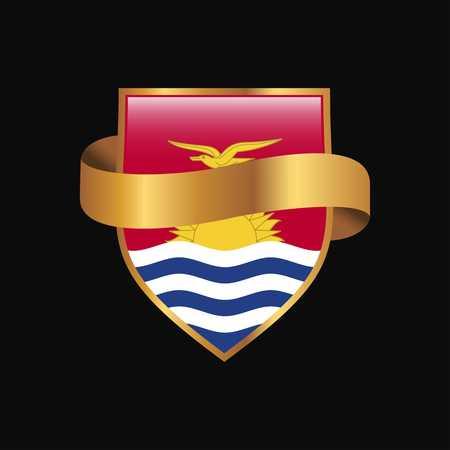 Kiribati flag Golden badge design vector
