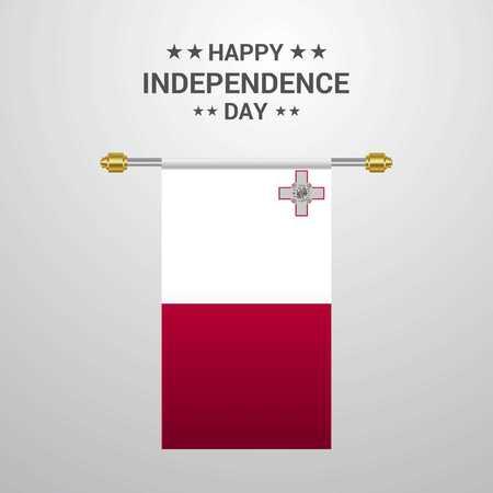 Malta Independence day hanging flag background Vektoros illusztráció