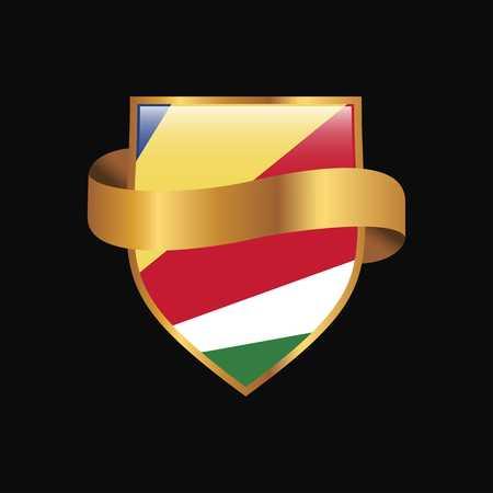 Seychelles flag Golden badge design vector