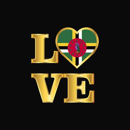 Love typography Dominica flag design vector Gold lettering