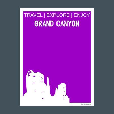 Grand Canyon Arizona, United States monument landmark brochure Flat style and typography vector