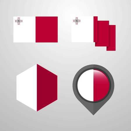 Malta flag design set vector Vektoros illusztráció