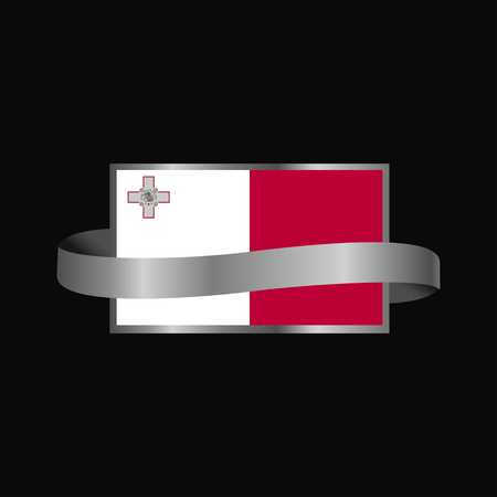 Malta flag Ribbon banner design