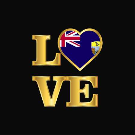 Love typography Saint Helena flag design vector Gold lettering