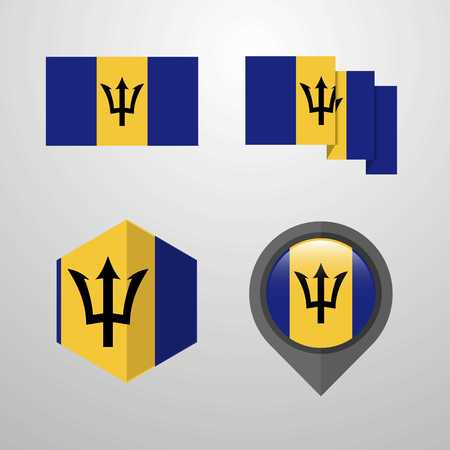 Barbados flag design set vector