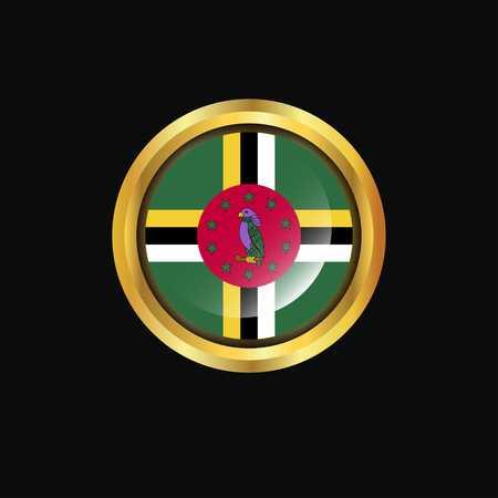 Dominica flag Golden button