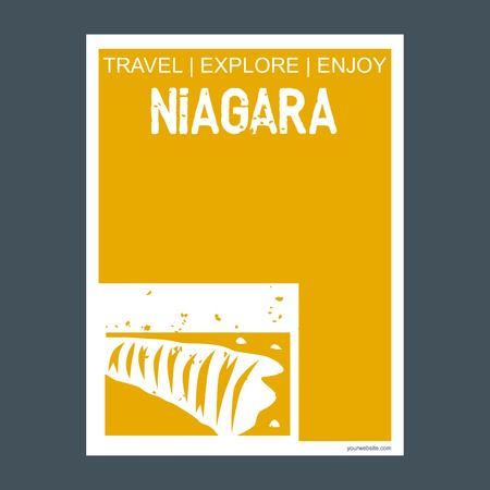 Niagara Ontario‎, Canada monument landmark brochure Flat style and typography vector