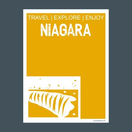 Niagara Ontario, Canada monument landmark brochure Flat style and typography vector
