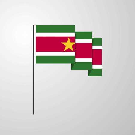 Suriname waving Flag creative background