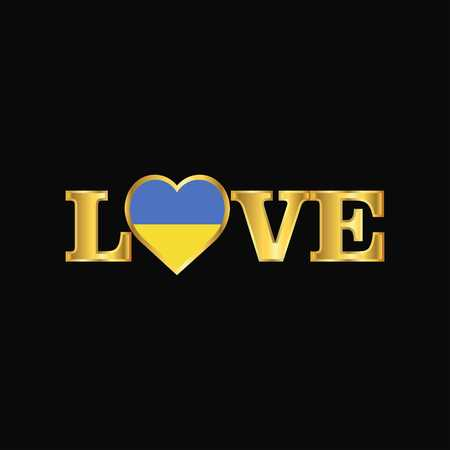 Golden Love typography Ukraine flag design vector Vectores