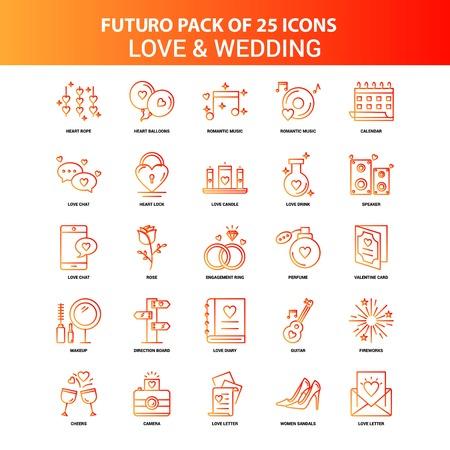 Orange Futuro 25 Love and Wedding Icon Set