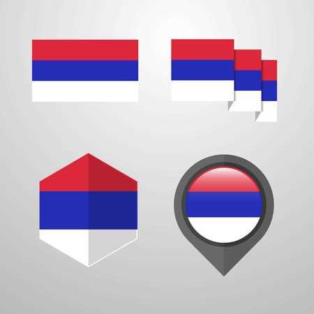 Republika Srpska flag design set vector