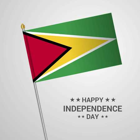 Guyana Independence day typographic design with flag vector