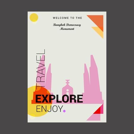 Bienvenue au monument de la démocratie de Bangkok, Thaïlande Explorez, voyagez et appréciez le modèle d'affiche