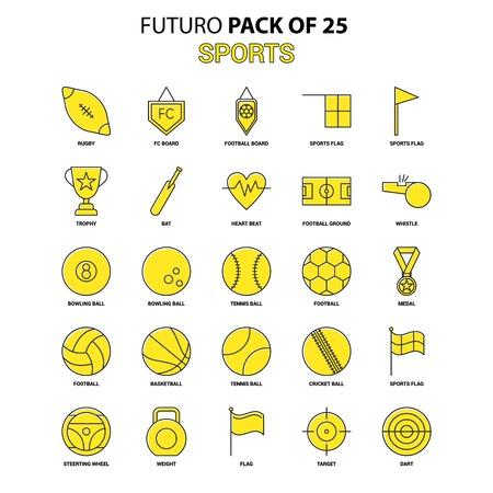 Sports Icon Set. Yellow Futuro Latest Design icon Pack