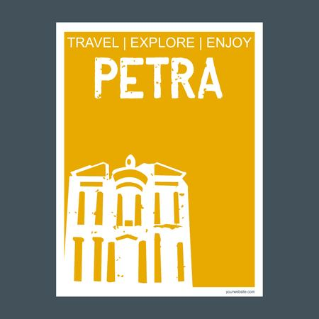Petra Ma'an Governorate, Jordan monument landmark brochure Flat style and typography vector