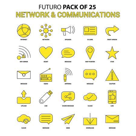 Network and Communication Icon Set. Yellow Futuro Latest Design icon Pack