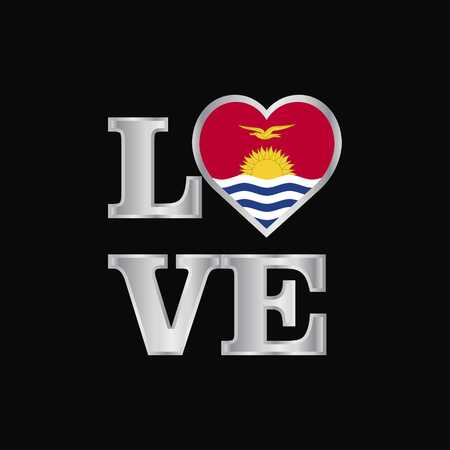 Love typography Kiribati flag design vector beautiful lettering Vektoros illusztráció
