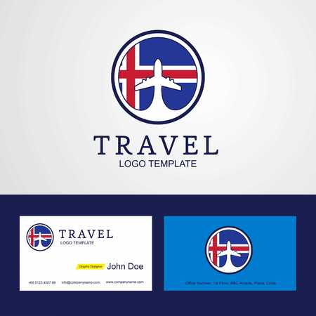 Travel Iceland Creative Circle flag Logo and Business card design