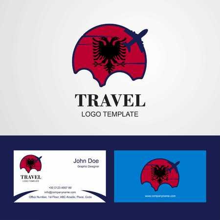 Travel Albania Flag Logo and Visiting Card Design