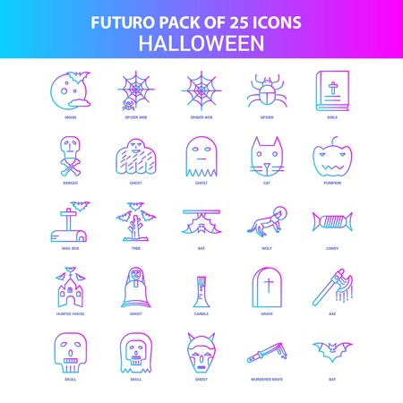 25 Blue and Pink Futuro Halloween Icon Pack Ilustrace