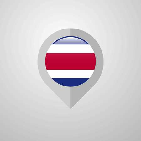 Map Navigation pointer with Costa Rica flag design vector